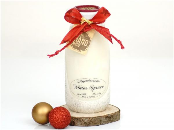 Winter Spruce  Milk Bottle large white